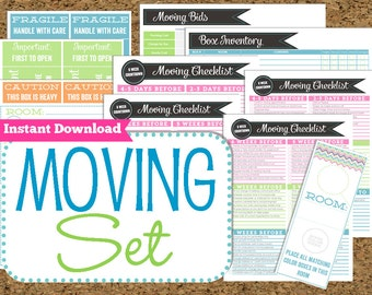 INSTANT DOWNLOAD Moving Planner- Editable Moving Printables-8 Pdf Printable Sheets