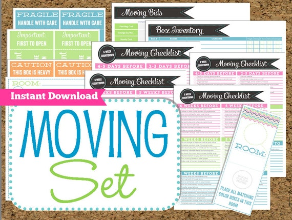 Instant Download Moving Planner Editable Moving Printables