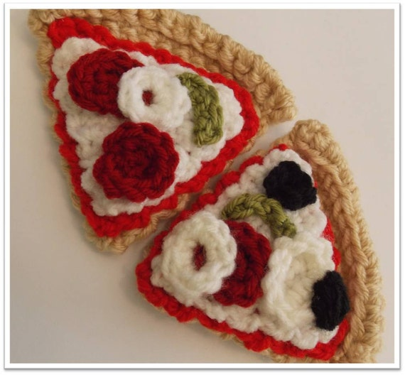 Items similar to Crocheted Pizza Slices Pattern ...