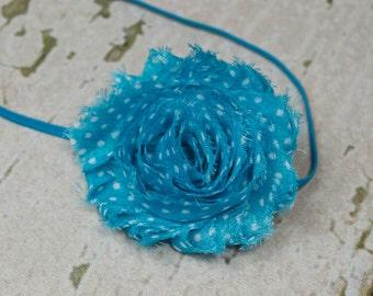 Turquoise with White Polka Dots or Blue Country Shabby Chic Flower on a Skinny Elastic Headband, Newborn Headband, Newborn Photo Prop