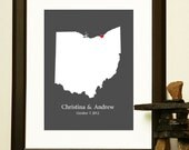 WEDDING SHOWER GIFT - Journey Map of Ohio - Choose a State - Map of an Engagement, Wedding, Honeymoon, or Anniversary
