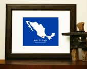 Unique WEDDING GUESTBOOK - Journey Map of Mexico for a Destination Wedding - Custom Map for any country