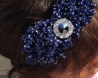 Blue Polka Dot Shabby Chiffon Flower Headband, Girl Headband, Baby Girl Headband, Infant Girl Headband, Newborn Girl Headband