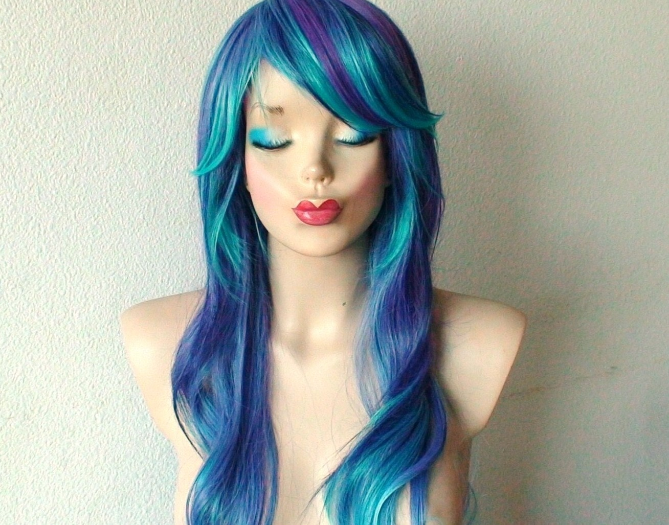 Blue Purple Wig Long Curly Wavy Hair With Long Side By