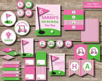 Golf Party Girls Birthday Package Printables / Golf Party Decorations Pink Digital PDF