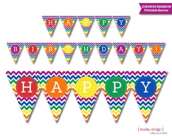 INSTANT DOWNLOAD Rainbow Party Chevron Printable Banner Happy Birthday DIY Banner Photo Prop