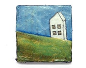 tiny painting  - small ORIGINAL art - naive painting  -  pychological -  white house  - Titled: Blank Slate