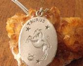 Vintage PURE pewter  Taurus zodiac pendant necklace