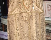 Gold Flapper Charleston. Great Gatsby, 1920s  style dress from the 70s.
