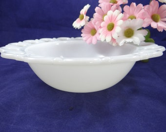 Vintage Milk Glass Reticulated Scalloped Edge Bowl - Perfect for Serving or Display or Vanity - Milk Glass Bowl with Scalloped Edge