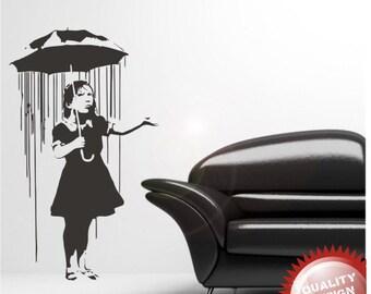 Banksy umbrella girl vinyl wall decal sticker