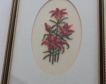 Vintage Needlepoint Needlework Orange Prairie Lilies in Brown Wooden Frame