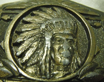 Vintage metal belt buckle, Redman
