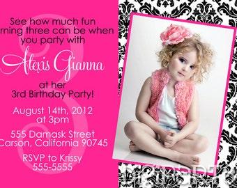 Damask Birthday Invitation