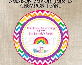 Rainbow Chevron Favor Tags