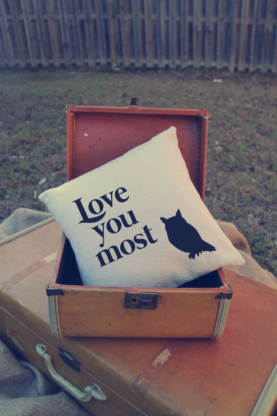 Custom Pillow - Love - Love you Most - Owl