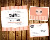 Customized Printable Striped DIY Wedding Set - Invitation & RSVP Postcard
