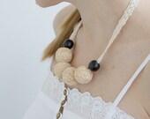 Beige short beaded lace necklace balls thread cotton for women fiber natural summer rustic