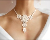 "Ivory tatted lace necklace, wedding, floral - ""Sleeping Beauty"" collection - big - SILHUETTE"