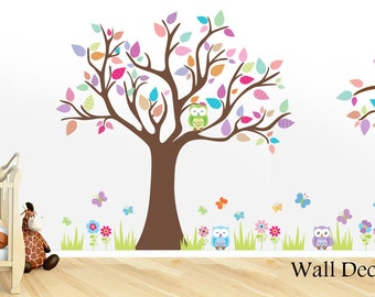 Nursery Decals - Owl Decals - Nursery Tree Decals - Nursery Wall Decal -  Baby Nursery Wall Decals - Owl Wall Decal - Owl Wall Decals