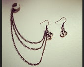 Bronze Om Earring and Earcuff Set