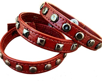 Red Leather Bracelet with Studs - Handmade