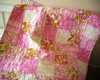 Pink and Green Floral Patchwork Baby Quilt