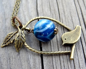 Bronze Bird Blue Agate leaf charm pendant with crystal nature handmade necklace Birds Animals