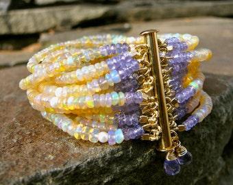 Ethiopian Opal Bracelet, Welo Opal Jewelry, Opal, Opal Jewelry, Welo Opal Bracelet, Tanzanite, Tanzanite Bracelet, Tanzanite Jewelry