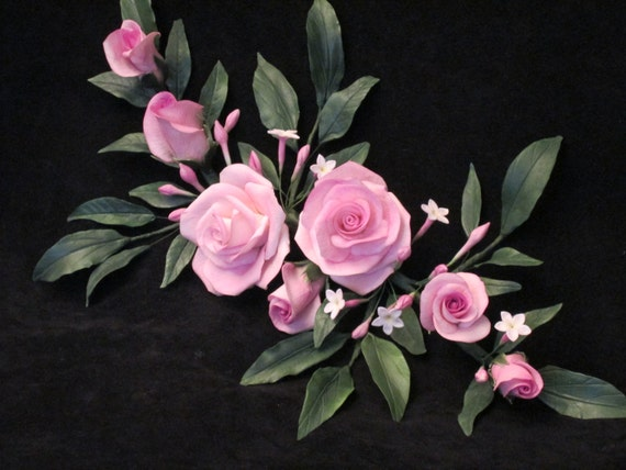 Cake topper Rose and Chinese jasmine gumpaste sugar edible wedding bridal Mother's day Easter keepsake