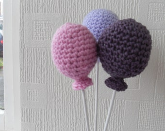 Amigurumi Style Crochet Balloons 3D.......Purple,Lilac, and Pink