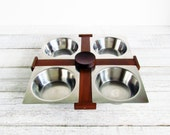 Vintage Danish Modern Style Serving Set Stainless Bowl Wood Tray Chip and Dip Set