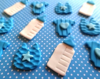 Fondant mini cupcake toppers, baby boy shower, baby girl shower, fondant shower toppers, cupcake toppers, mini cupcake toppers
