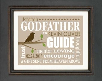 GODFATHER gift - 8x10 Print - Personalized gift for Godfather - Custom Names Print- Name and Date of Godchild - Can be made in other colors