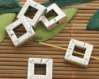 30pcs dark silver tone Square spacer beads 10mm h3576