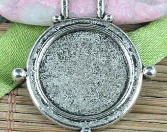 15pcs tibetan silver round cabochon settings charms EF0192