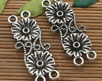12pcs dark silver tone two flower connector h3853