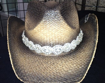 Distressed bling cowboy hat