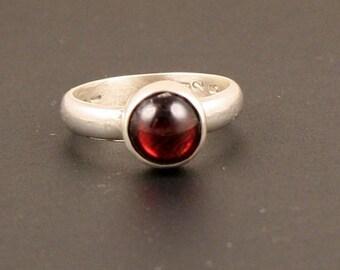 Garnet  Minimalist Industrial  Sterling Silver Ring
