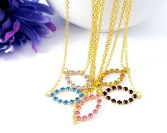 Vintage Gold Necklace, Vintage Swarovski Oval in Blue, Pink, Lavendar, Topaz, and Garnet, Choose One