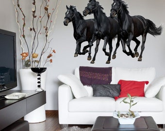 Wall Sticker Black Horses (2614f) (paard,cheval,pferd,cavallo,caballo,лошадь)