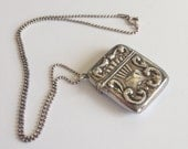 Antique Sterling Silver Vesta  Safe / Case with chain