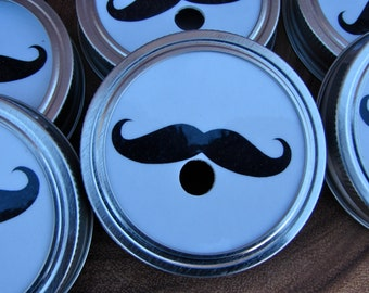 Mustache - Party Mason Jar Lids and BPA Free Reusable Straws - 6 Lids - 6. Straws...C6
