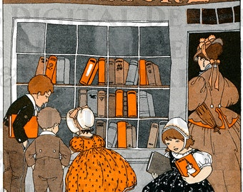 Wonderful BOOKSTORE. Vintage Books  ILLUSTRATION.  Reading DIGITAL Download. Child Art to Frame.