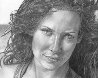 Drawing Print of Evangeline Lilly from LOST