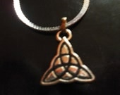 celtic love knot on a silver code snake chain