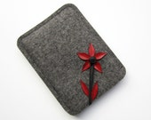 redflow - Kindle, Kindle Touch and Kindle Paperwhite case gray wool felt and red leather - anrohr