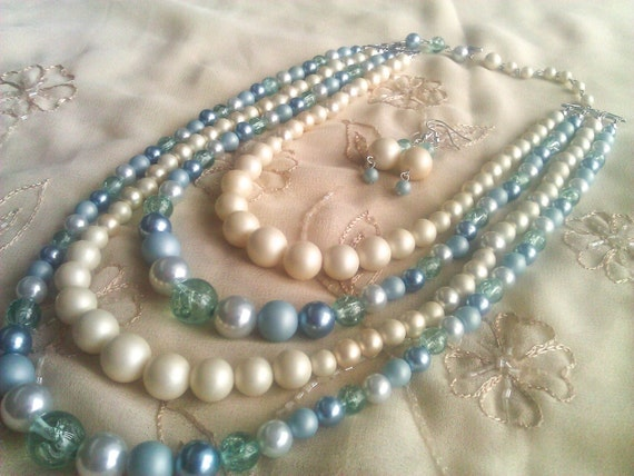 Four Strand Beaded Faux white, Blue Pearl & Plastic beaded Necklace with Dangle Earrings