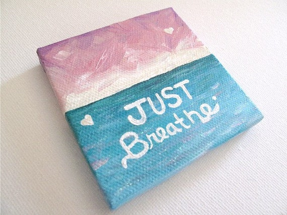 3 X Mini Small Canvas Painting Inspirational Quote Abstract Seascape On Etsy