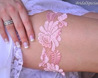 Wedding Garter, Garter Set, Lace Garter Set, Pink Bridal Garter, Vintage Garter, Pink Lace Garter, Lace Garter, Pink Garter, Pink Garter Set